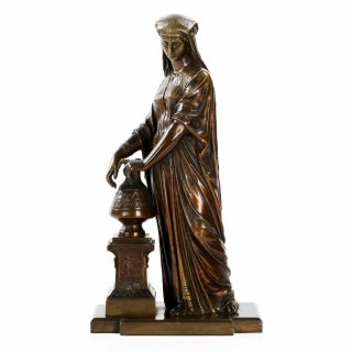 Antique Egyptian Revival Patinated Bronze Sculpture of a Woman For Sale