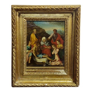 17th Century Antique Italian Old Master Disposition of Christ Oil Painting For Sale