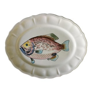 Vintage Italian Multi-Colored Pink Fish Scalloped Platter For Sale
