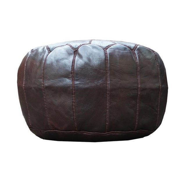 Chocolate Brown Moroccan Leather Pouf - Image 3 of 4