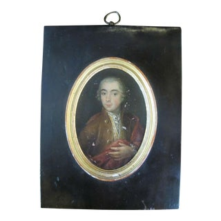 18th Century Miniature Painting Portrait of Young Man on Wood For Sale