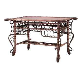 French Victorian Bamboo Center Table For Sale