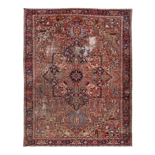Red Antique Heriz Shabby Chic Handmade Wool Rug For Sale
