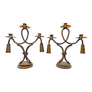 Vintage Italian Hollywood Regency Rope & Tassel Candlesticks- A Pair