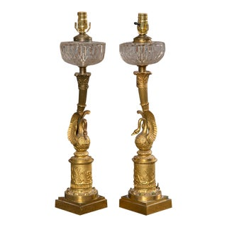 1800s Empire Bronze Swan Table Lamps - a Pair For Sale