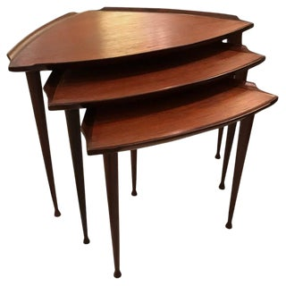 Chic Set of Danish Mid-Century Modern Triangular Nesting Tables For Sale