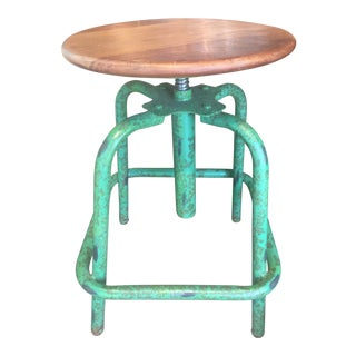 Industrial Green Adjustable Round Wood & Metal Stool