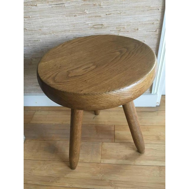 Ash Charlotte Perriand 1950s High Tripod Ash Tree Stool in Vintage Condition For Sale - Image 7 of 8