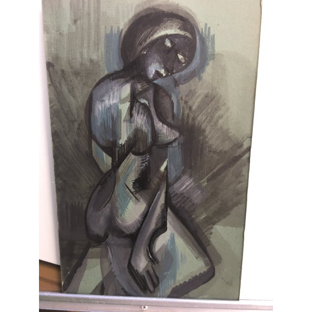 Abstract Figurative Blue and Gray Watercolor Painting - Image 2 of 4