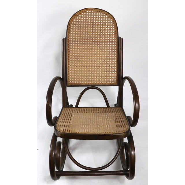 Mid-Century Modern 1950s Vintage Thornet Bentwood Rocking Chair For Sale - Image 3 of 6