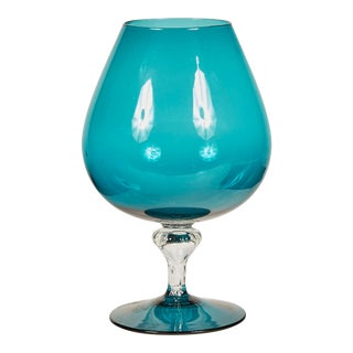 1960s Italian Turquoise Glass Compote