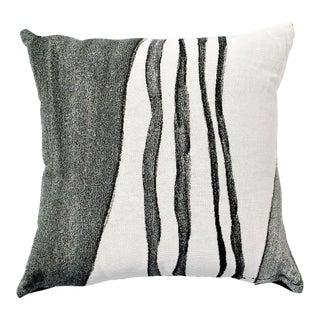 White & Gray Woven Throw Pillow For Sale