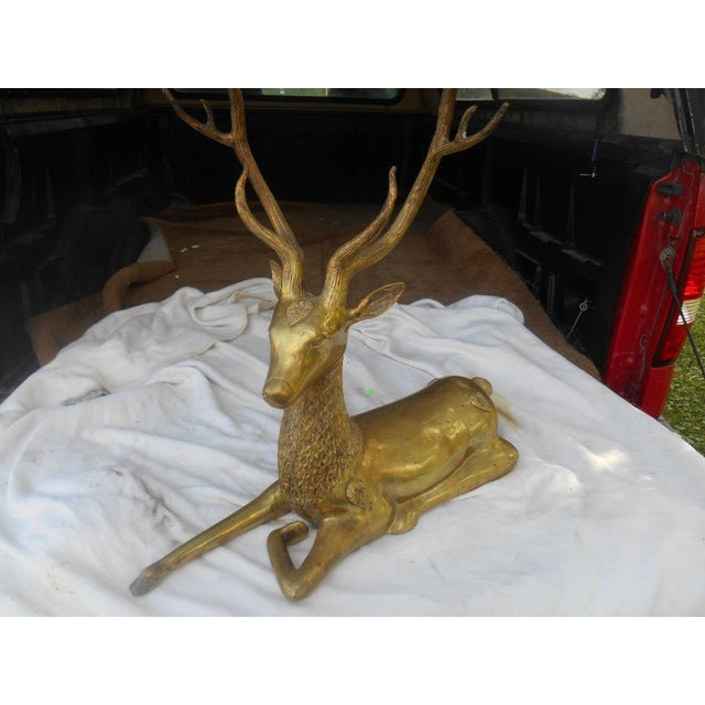 Mid-Century Stag Deer Brass Statue - Image 7 of 8