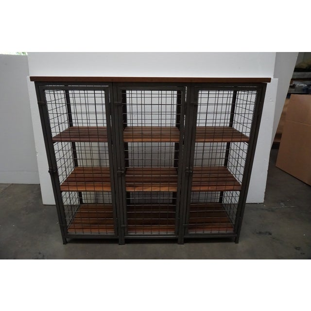 Mesh & Wood Storage Unit For Sale - Image 4 of 7