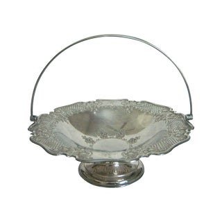 Antique English Lloyd, Payne & Ariel Reticulated Silver Cake Stand or Basket, Swing Handle For Sale