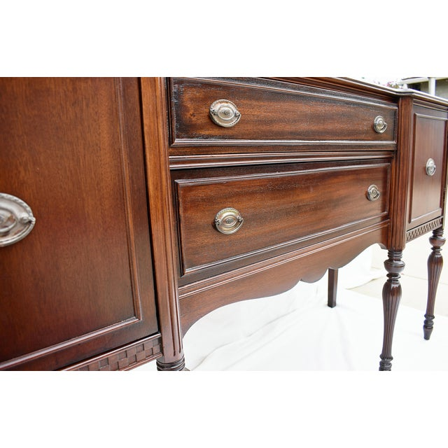 """64""""w x 20""""d x 36""""h Refinished Mahogany wood with original pulls. Pulls show wear consistent with age."""