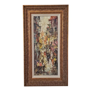 Street Scene With Carriage Oil Impasto on Canvas Painting For Sale