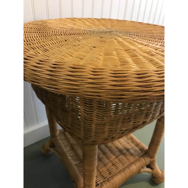 Vintage Wicker Side Tables with Glass Tops - A Pair For Sale - Image 9 of 11