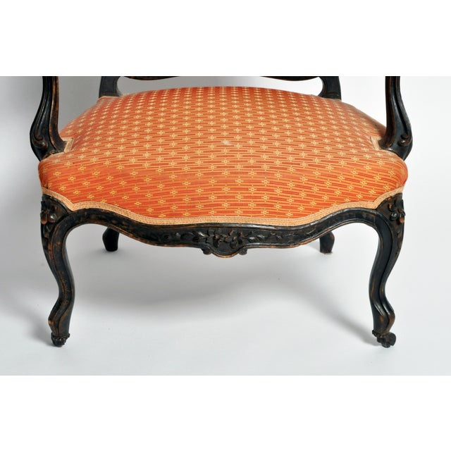 Orange Louis XV Style Fauteuil With Cabriole Legs For Sale - Image 8 of 11