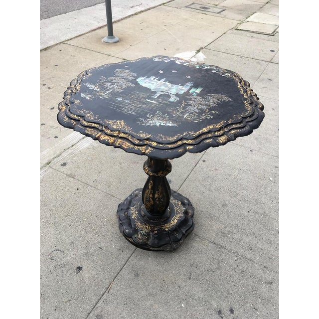 Victorian Papier-Mache & Mother of Pearl Table For Sale - Image 4 of 11