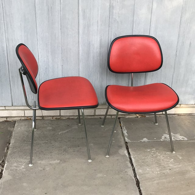 Mid-Century Modern 1970s Vintage Eames for Herman Miller Dcm Chairs- A Pair For Sale - Image 3 of 8