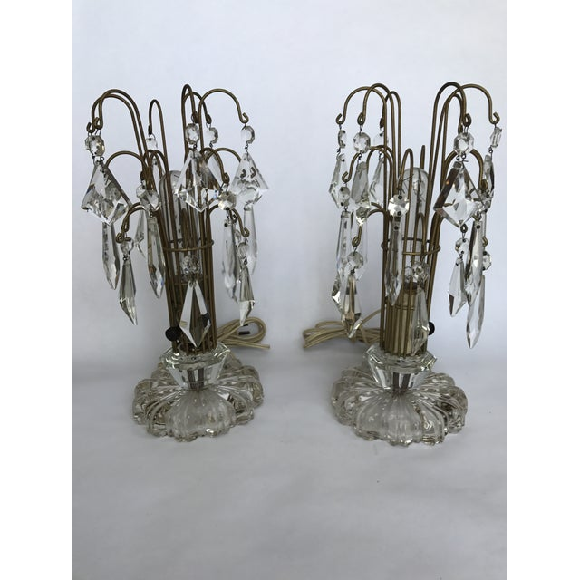 Vintage Art Deco Crystal Chandelier Lamps - A Pair - Image 10 of 10