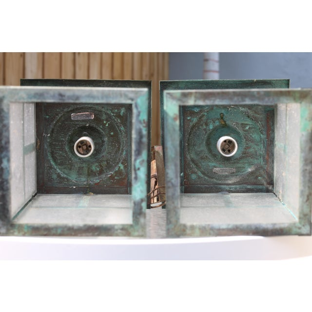 Vintage Weathered Copper and Glass Outdoor Hanging Lanterns - a Pair For Sale - Image 9 of 10