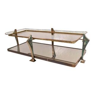 Artistic Glass Brass and Malachite Pepe Mendoza Coffee Table For Sale