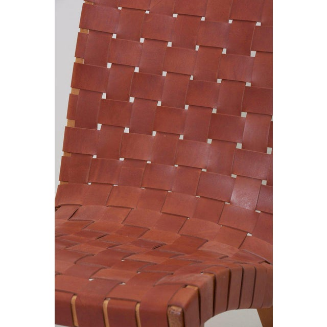 Animal Skin Pair of Early Jens Risom 654W Lounge Chairs by Knoll with New Leather Webbing For Sale - Image 7 of 12