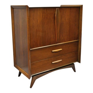Mid-Century Modern Vladimir Kagan Style Sculpted Walnut Tall Chest Dresser Cabinet For Sale