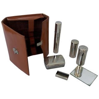 Art Deco Vintage Leather Travel Grooming Set With Toiletry Pieces For Sale