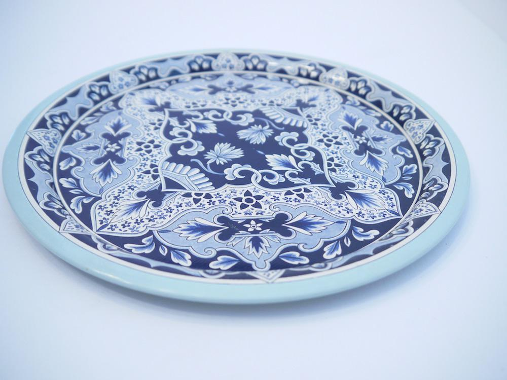 Vintage Delft Blue Tin Serving Tray - Image 3 of 5  sc 1 st  Chairish & Vintage Delft Blue Tin Serving Tray | Chairish