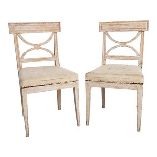 Antique Swedish Country Karl Johan Period Side Chairs For Sale