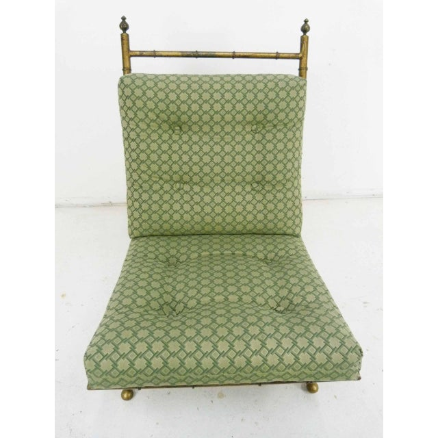 Italian-Style Faux Bamboo Lounge Chair & Ottoman - Image 4 of 9