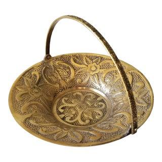 Vintage Brass Basket Candy Dish Articulated Handle Flower Design For Sale