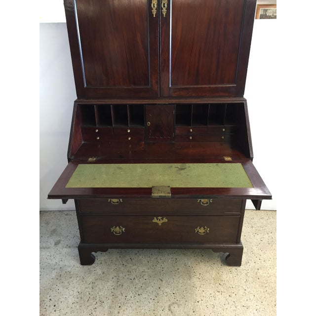 Brown Early 19th C. English Mahogany Bureau Bookcase For Sale - Image 8 of 9