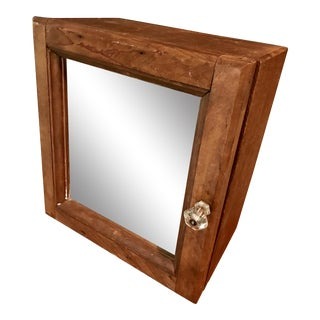 Primitive Storage Box Cabinet w/Mirror