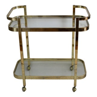 Milo Baughman Brass and Glass Bar Cart for Thayer Coggin For Sale