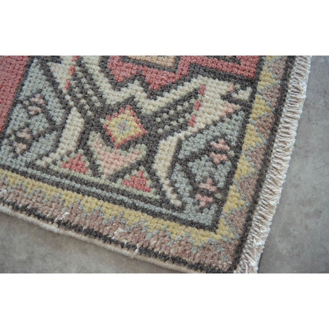 Boho Chic Turkish Small Rug Hand Knotted Mat - 1'9'' X 2'11'' For Sale - Image 3 of 4