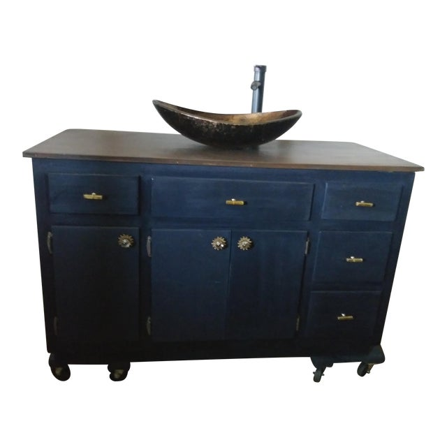Mid-Century Modern Maple Sink Vanity - Image 1 of 3