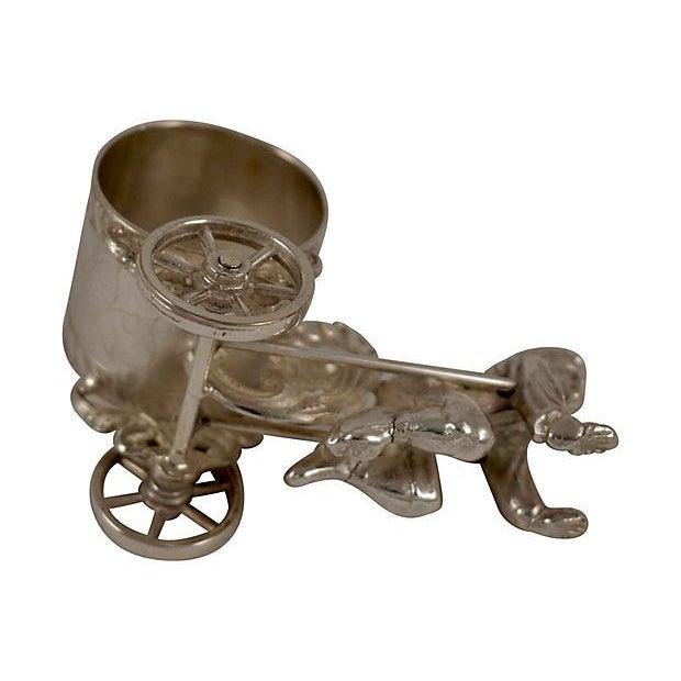 Metal Victorian Boy & Cart Silver Figural Napkin Ring/Holder For Sale - Image 7 of 11