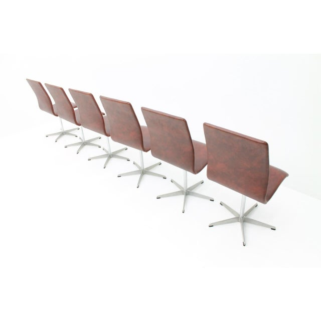 Aluminum 6x Arne Jacobsen Oxford Chairs by Fritz Hansen Denmark For Sale - Image 7 of 12