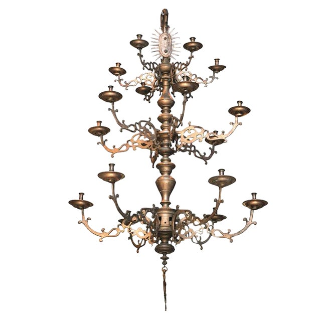 Spanish Bronze Chandelier - Image 1 of 7