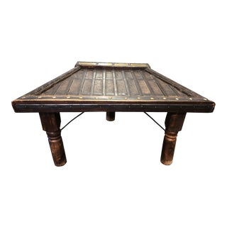 Antique Ox Cart Custom Made Coffee Side Table For Sale