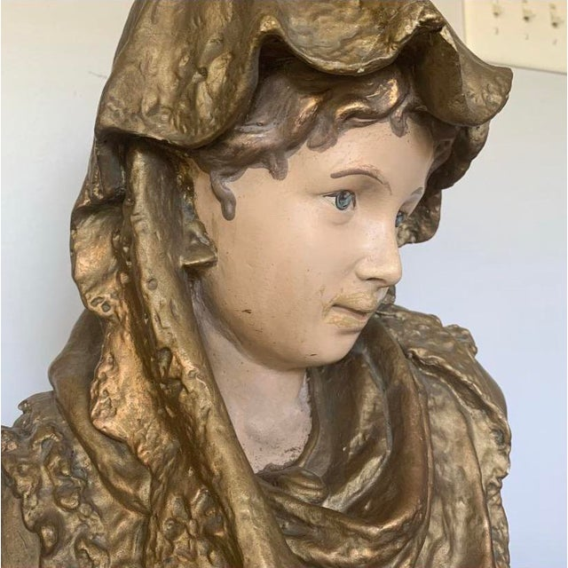 Antique 19th C. French Chalkware Bust For Sale In Raleigh - Image 6 of 9