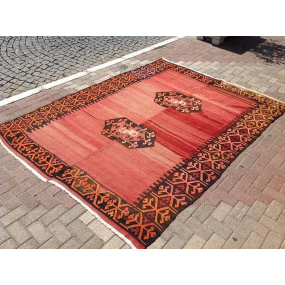 "Vintage Turkish Kilim Rug - 6'9"" X 9' - Image 3 of 6"