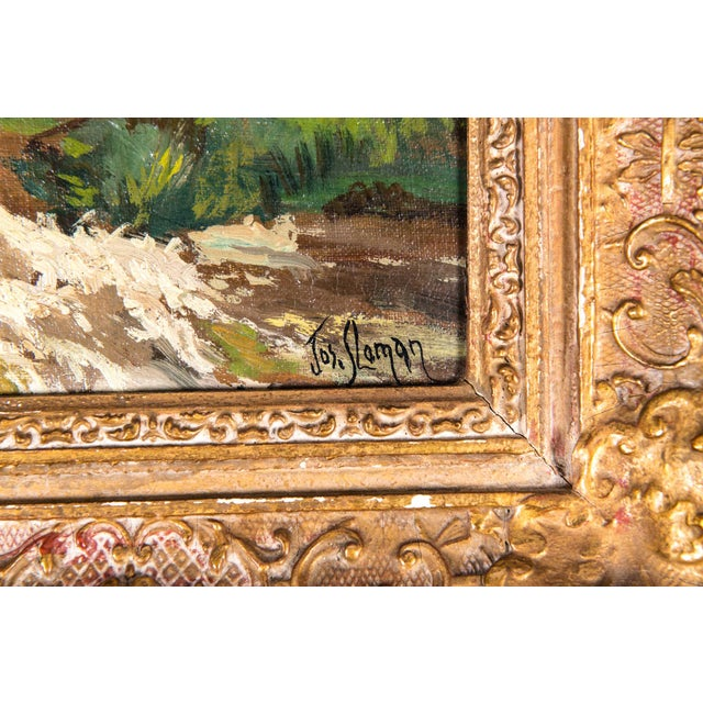 Gold Late 19th Century Oil Painting on Board With Giltwood Frame - a Pair For Sale - Image 8 of 13