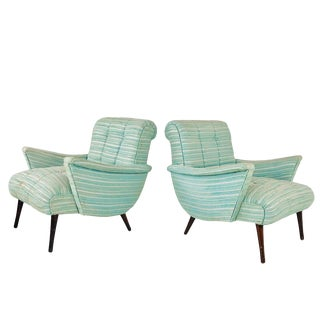 Mid-Century Seafoam Scoop Lounge Armchairs For Sale