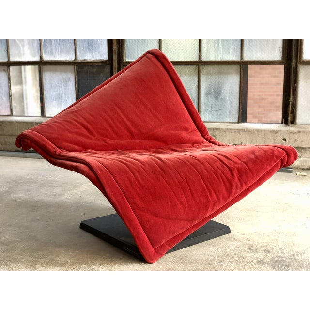 """""""Flying Carpet"""" chair by Simon Desanta for Rosenthal of Germany c. 1980's. A black steel base swoops and curves to create..."""