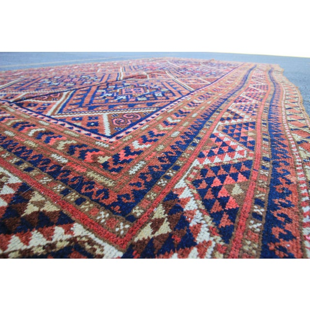 "Vintage Oushak Turkoman Persian Nomad Rug - 5'11"" x 10'6"" For Sale - Image 4 of 5"
